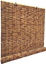 HJRD Natural Reed Screen Curtain, Retro Carbonized