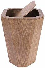 HJSP Modern trash can Wood Wastebasket, Trash Can