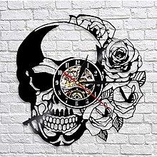 HJTLK Stylish Modern Wall Clock,Tattoo Skull with