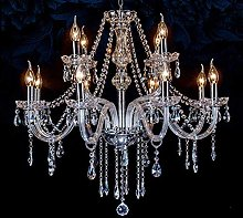 HJW Chandelier Lighting with 8 Crystal Lights,