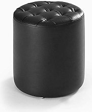 HJW Practical Stool Footstool Round Leather Sofa