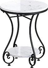 HKAFD Balcony Casual Coffee Table, 2-tier Marble