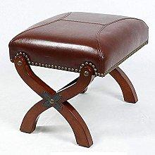 HKAFD Footstool Sofa Stool Vintage Faux Leather