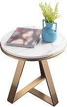 HKAFD Marble Bar Table, Golden Metal Round Side