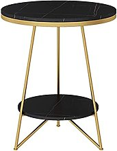 HKAFD Marble Round Side Table, Double Layer Metal