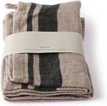 HKliving - Pair Of Natural Stripe Linen Napkins