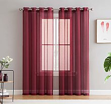 HLC.ME 2 Piece Semi Sheer Voile See Through Window
