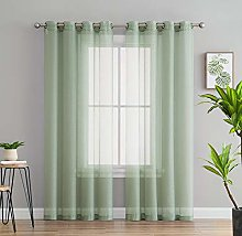 HLC.ME 2 Piece Semi-Sheer Voile Window Curtain
