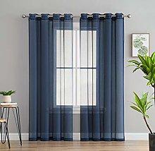 HLC.ME 2 Piece Sheer Voile Window Curtain Grommet