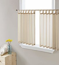 HLC.ME Antique Taupe Sheer Voile Tab Top Window