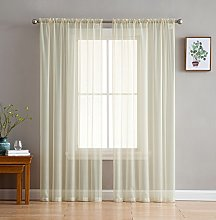HLC.ME Beige Window Curtain Sheer Voile Panels for