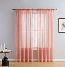 HLC.ME Blush Pink Sheer Voile Window Treatment Rod