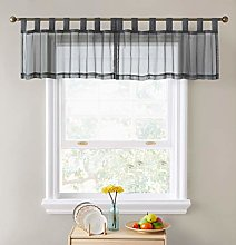 HLC.ME Charcoal Grey Sheer Voile Valance Tab Top