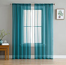 HLC.ME Grey Teal Sheer Voile Window Treatment Rod