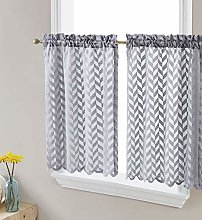 HLC.ME Herringbone Lace Sheer Kitchen Cafe Curtain