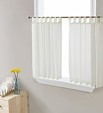 HLC.ME Ivory Sheer Voile Tab Top Window Treatment