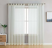 HLC.ME Ivory Tab Top 54 inch x 63 inch Long Window