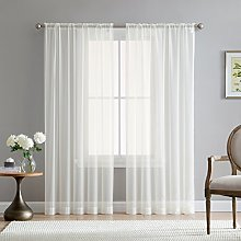 HLC.ME Ivory Window Curtain Sheer Voile Panels for