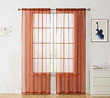 HLC.ME Rust Orange Sheer Voile Window Treatment