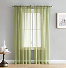 HLC.ME Sage Green Window Curtain Sheer Voile