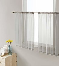 HLC.ME Silver Grey Window Curtain Sheer Voile Rod
