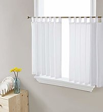HLC.ME White Sheer Voile Tab Top Window Treatment