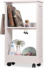 HLL Bookcases,2 Tiers Storage Shelf on Wheels,