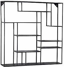 HLL Bookcases,Bookshelf Wrought Iron Black Wall