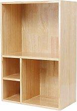 HLL Bookshelf,Solid Wood Simple Lattice Cabinet