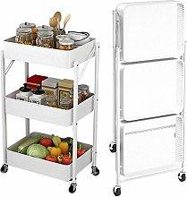 HLL Carts,Trolley Kitchen Storage Cart Folding