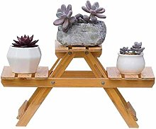 HLL Plant Stand,Folding Desk 3 Tier Wood Small