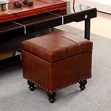 HLL Stools,Large Faux Leather Pouffe Storage Cube