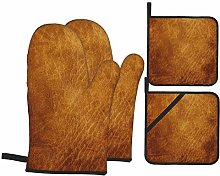 HLSCYZ Oven Mitts and Pot Holders 4pcs Set,Brown