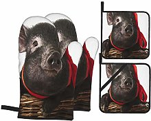 HLSCYZ Oven Mitts and Pot Holders 4pcs Set,Cute