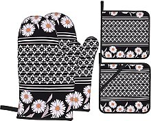 HLSCYZ Oven Mitts and Pot Holders 4pcs Set,Floral