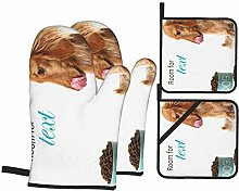 HLSCYZ Oven Mitts and Pot Holders 4pcs Set,Hungry