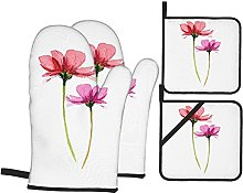 HLSCYZ Oven Mitts and Pot Holders 4pcs Set,Two