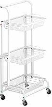 HLWJXS Kitchen Shelf Three Layers Fold Cart