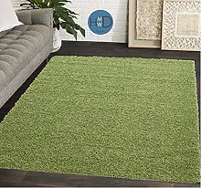 HMWD ® Light Lime Green Shaggy Rugs New Non Shed