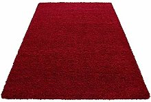 HMWD Modern Red Fluffy Thick Pile Non-Slip Area