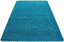 HMWD Modern Teal Blue Deep Pile Anti Skid Area