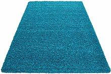 HMWD Modern Teal Blue Fluffy Deep Pile Anti Skid