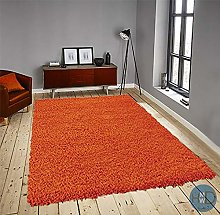 HMWD ® Orange Shaggy Rugs Non Shed Thick Plain