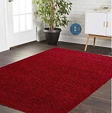 HMWD ® Red Shaggy Rugs New Non Shed Thick Plain