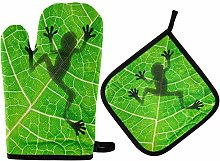 HMZXZ RXYY Animal Frog Leaf Oven Mitts Quilted