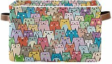 HMZXZ Rxyy Cute Colorful Cats Canvas Fabric