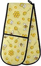 HMZXZ RXYY Double Oven Glove Cute Bees Yellow