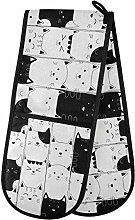 HMZXZ RXYY Double Oven Glove Cute Cat Black White