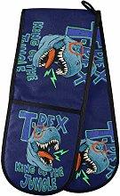 HMZXZ RXYY Double Oven Glove Funny Dinosaur Navy