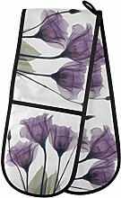 HMZXZ RXYY Double Oven Glove Lilac Purple Floral